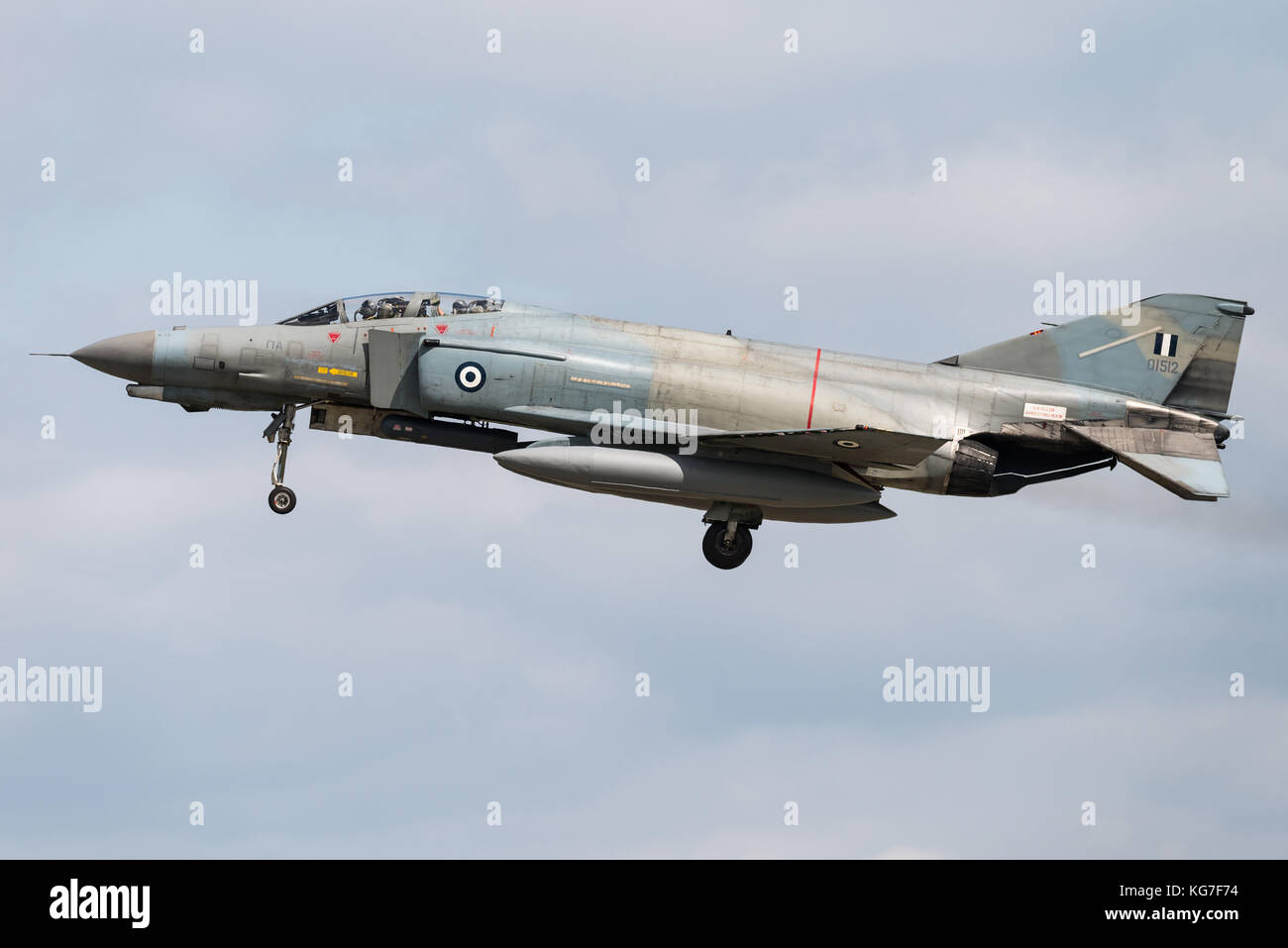 The McDonnell Douglas F-4 Phantom II fighter jet of the Hellenic Air Force at the Florennes Air Base in Belgium. Stock Photo