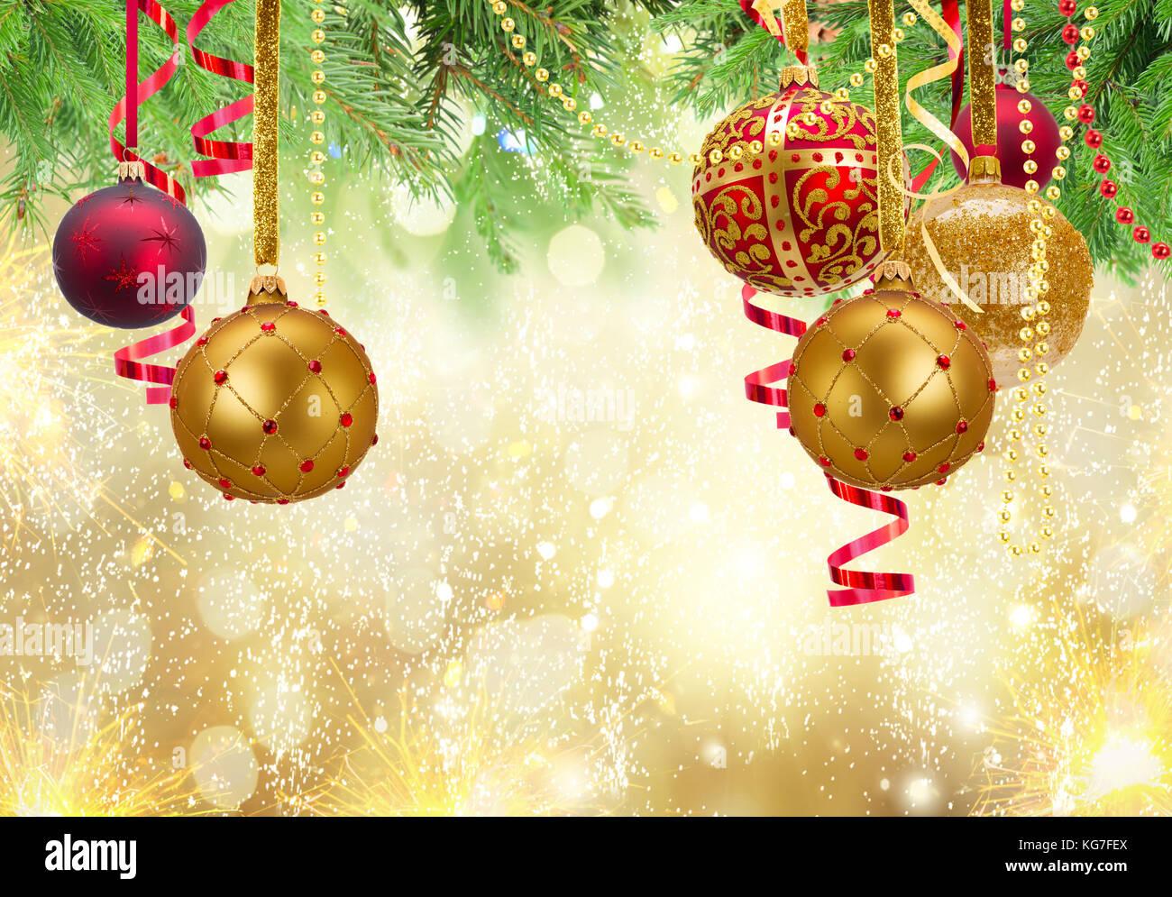 Christmas Ball Garlands.Red And Golden Christmas Balls Garland And Evergreen Fir