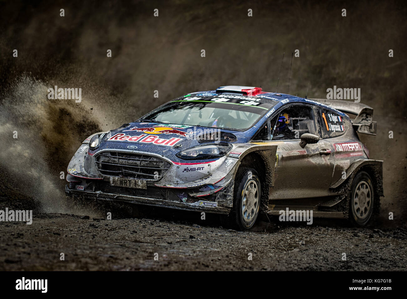 Sebastien Ogier on route to his fifth world championship at the  WRC World Rally Championship Day Insure Wales Rally - Stock Image