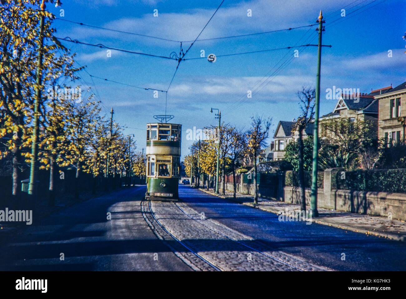 Tram Dundee No.142 Lowfield. Taken in December 1955 - Stock Image