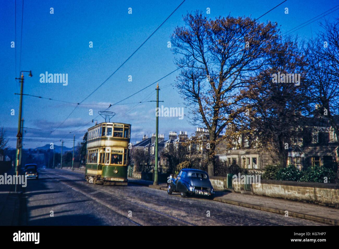 Tram Dundee No.1 Talgay Road. Taken in December 1955 - Stock Image