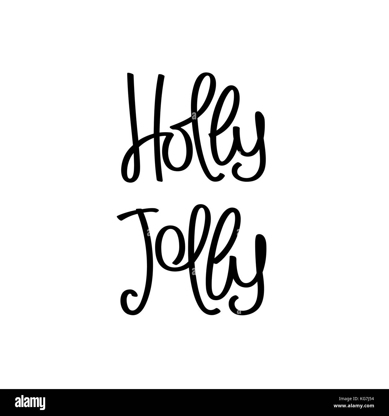 Holly Jolly. Simple monochrome handwritten lettering. Vector design elements - Stock Image
