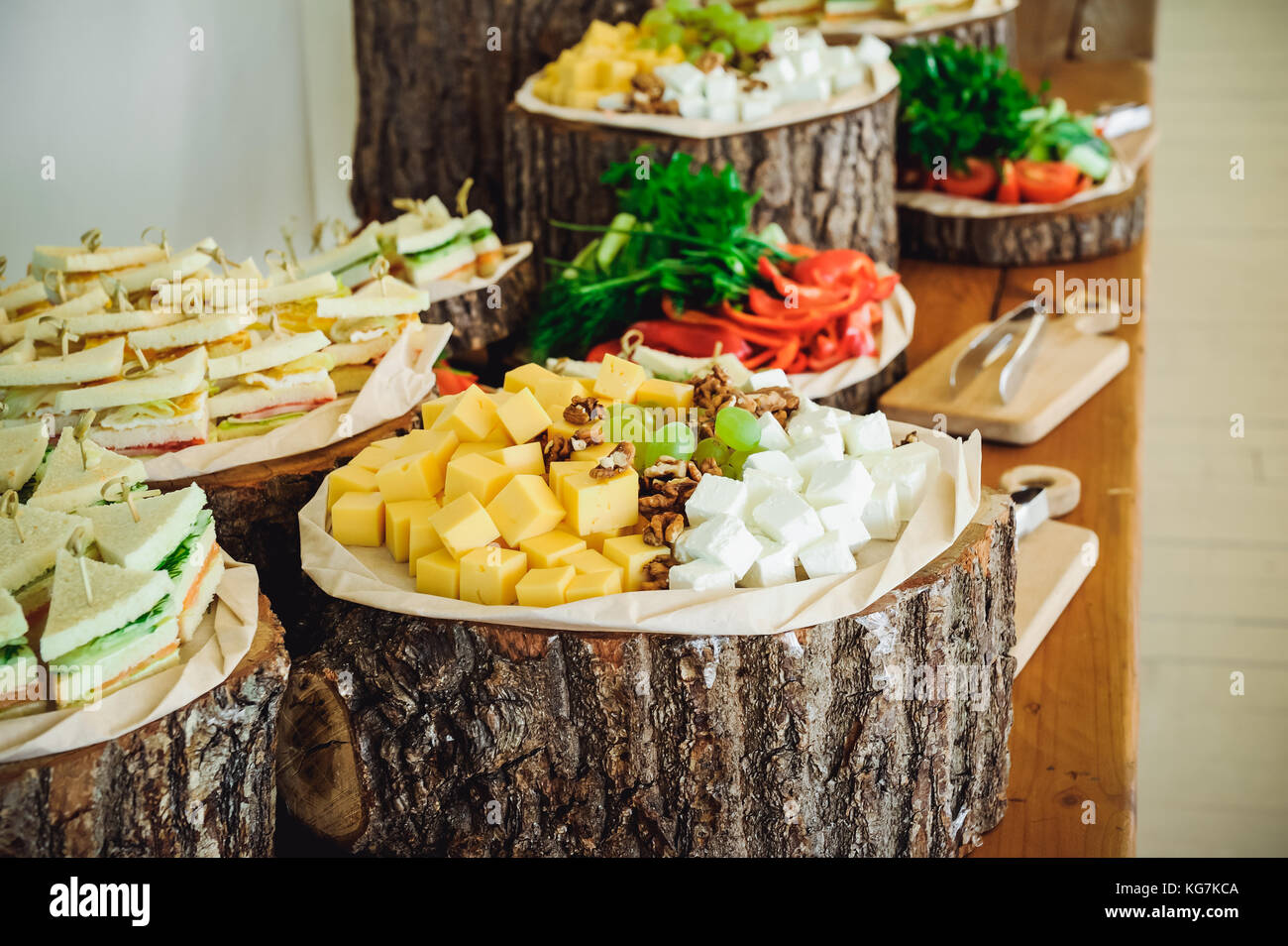 Outside Catering Buffet Table With A Delicious Food For Guests Of The Event In Rustic Style Service At Business Meeting Party Weddings Selective F