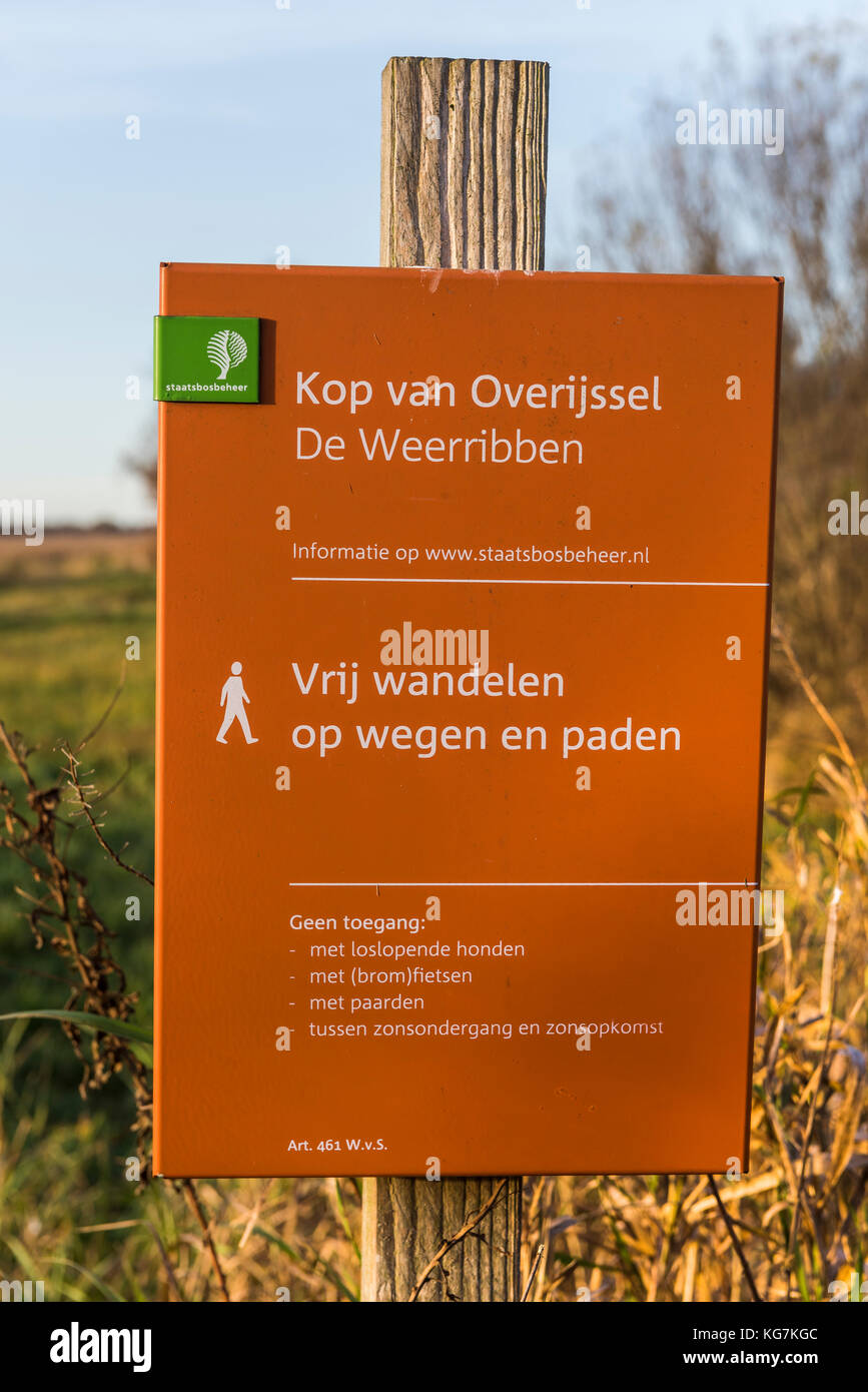 Weerribben, The Netherlands - November 24, 2016: Orange sign of Staatbosbeheer near an entrance path of National - Stock Image