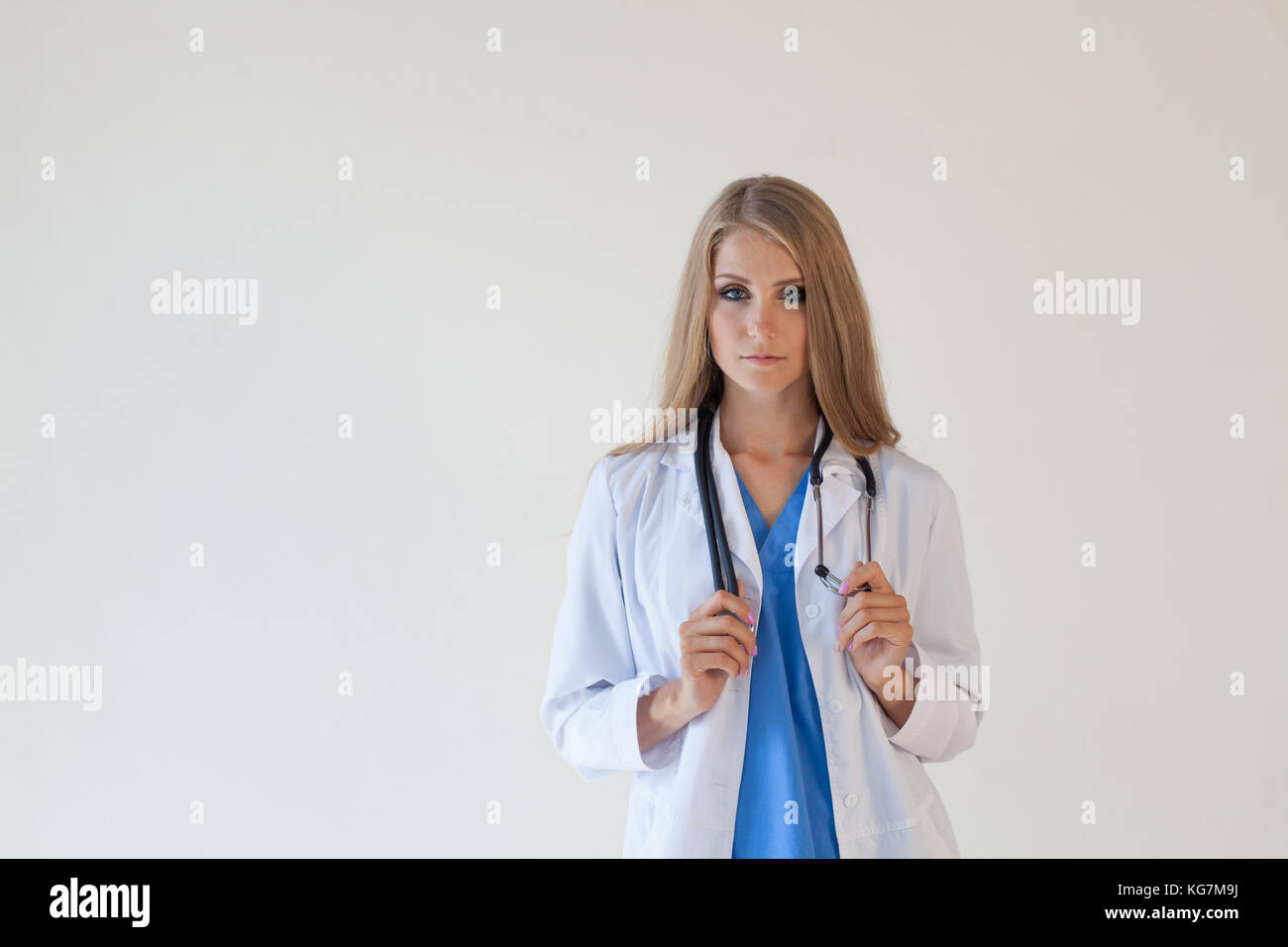 female doctor with stethoscope in hospital nurse - Stock Image