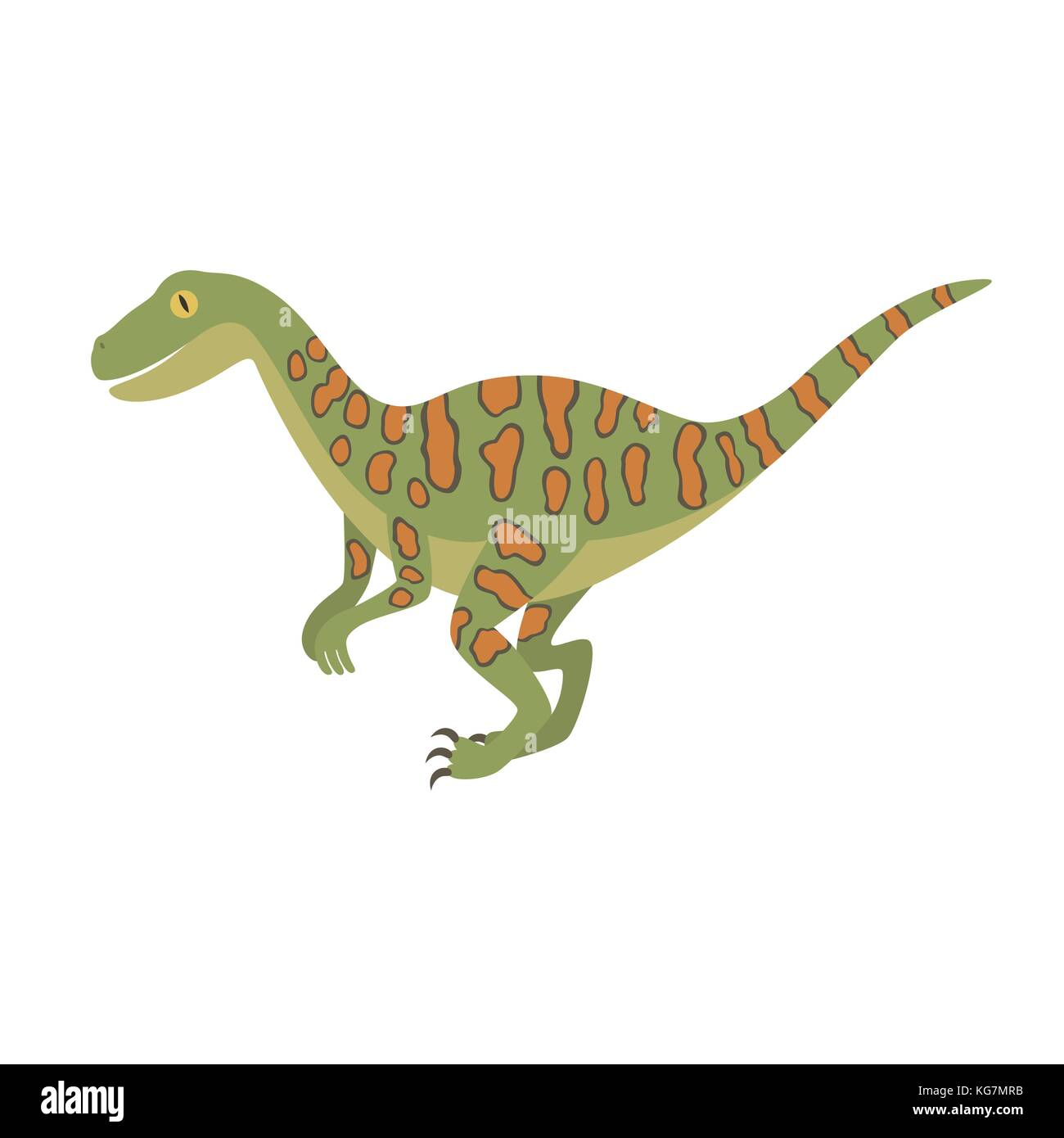 Deinonychus dinosaur color dino design illustration - Stock Image