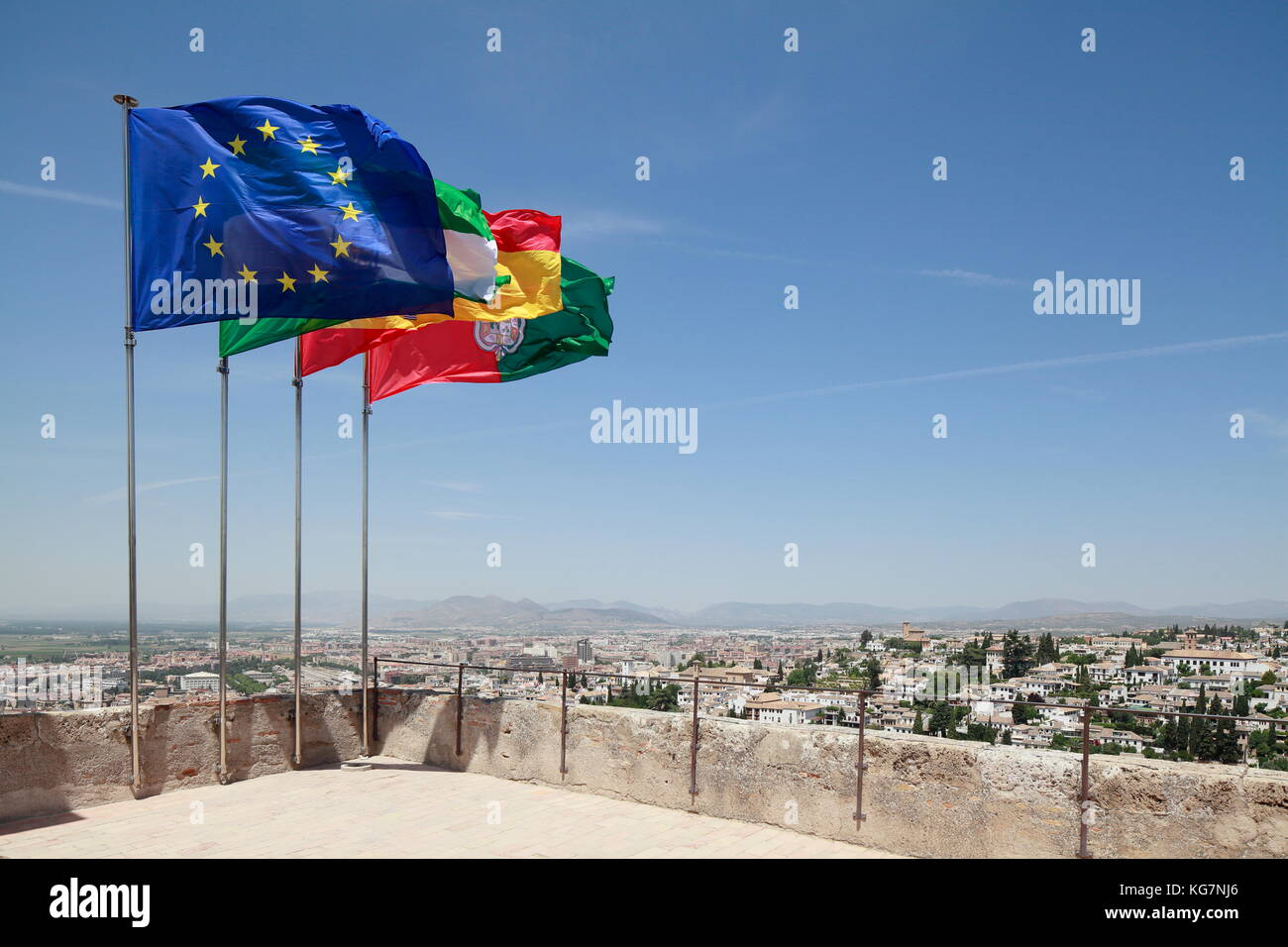 Flags, Alhambra Palace, Spain - Stock Image