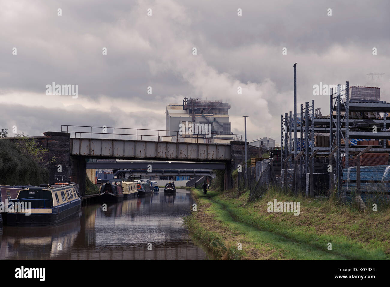 Entering into the chemical works on the Trent and Mersey canal - Stock Image