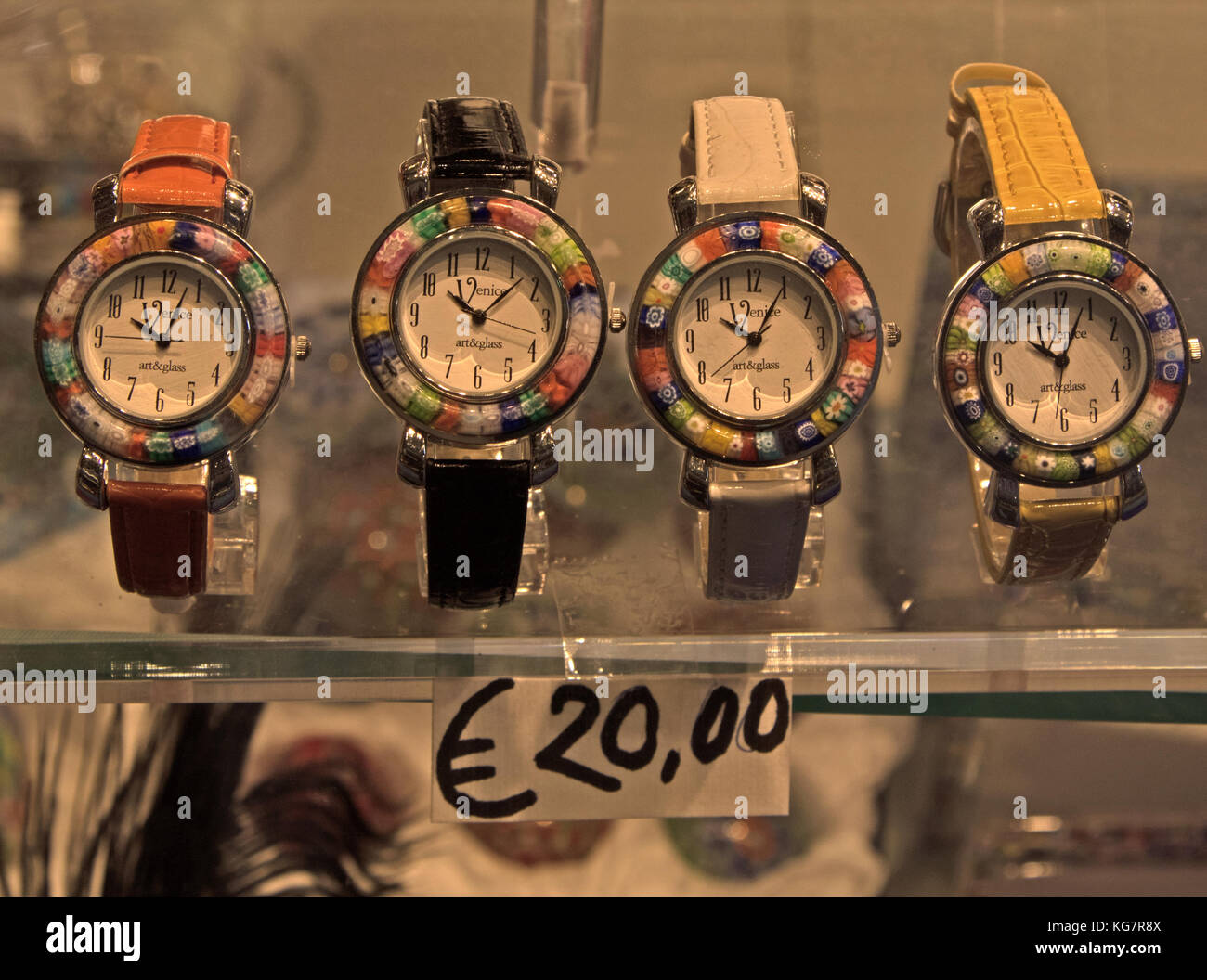 Watches in Venice Shop Window - Stock Image