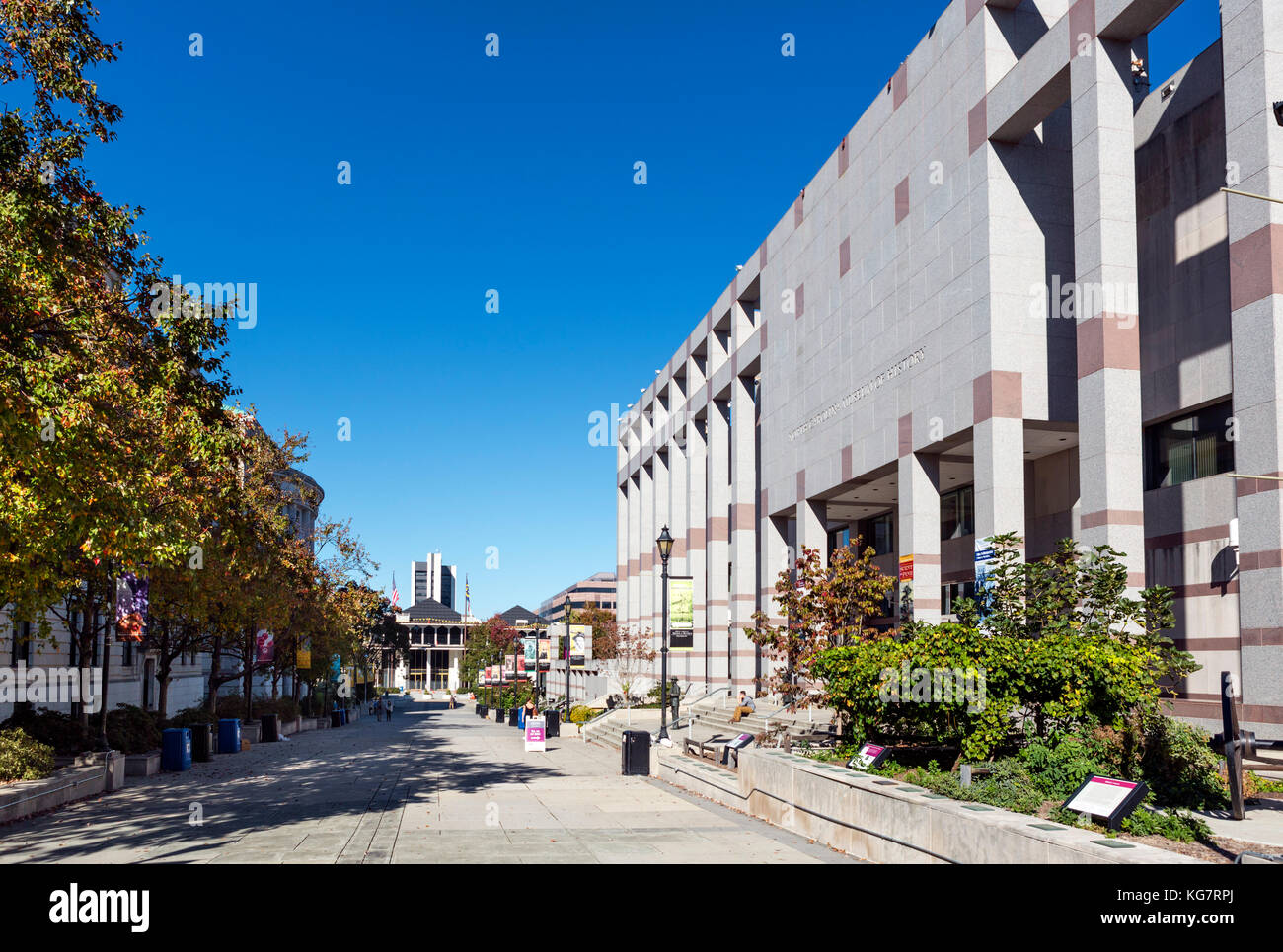 Museums on Bicentennial Plaza in dowtown Raleigh, North Carolina, USA. The North Carolina Museum of History is on - Stock Image