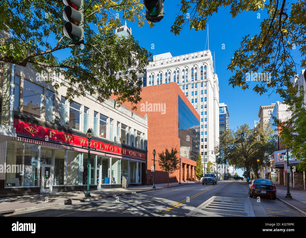 The old F W Woolworth store on S Elm Street, Greensboro, North Carolina, USA. The building now houses the International - Stock Image