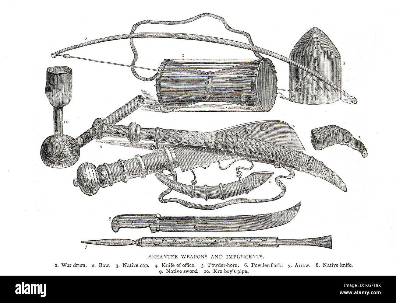19th century Ashanti weapons and implements - Stock Image
