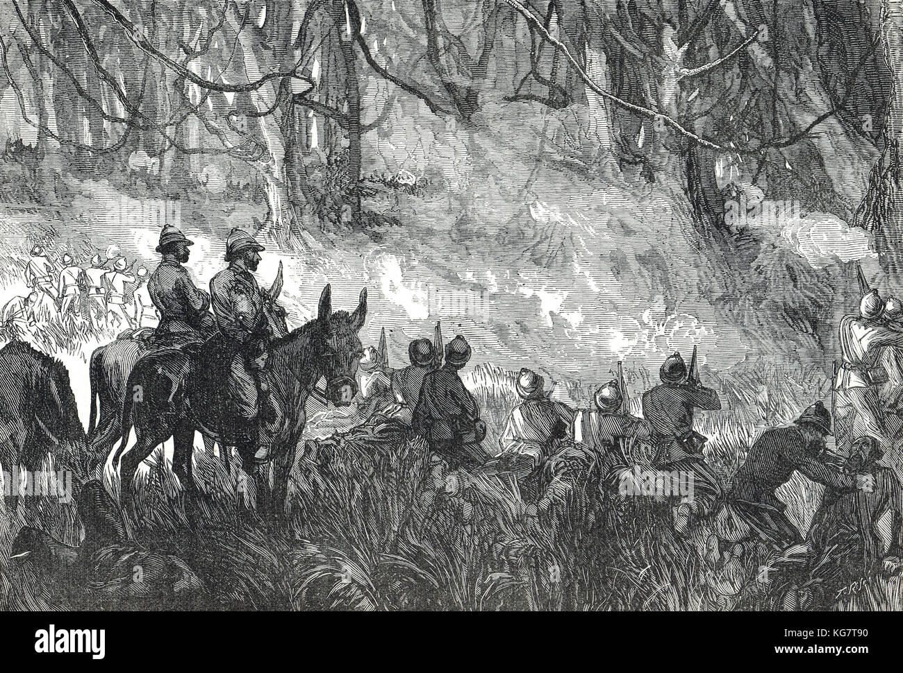 A Forest Skirmish, Third Anglo-Ashanti War, First Ashanti Expedition, 1873-1874 - Stock Image