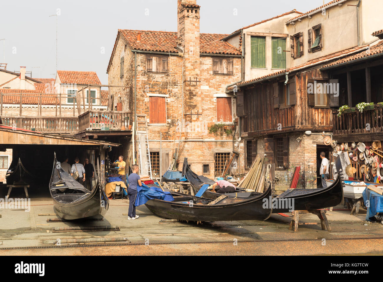 Italy, Venice, dry dock maintenance yard for gondolers. - Stock Image