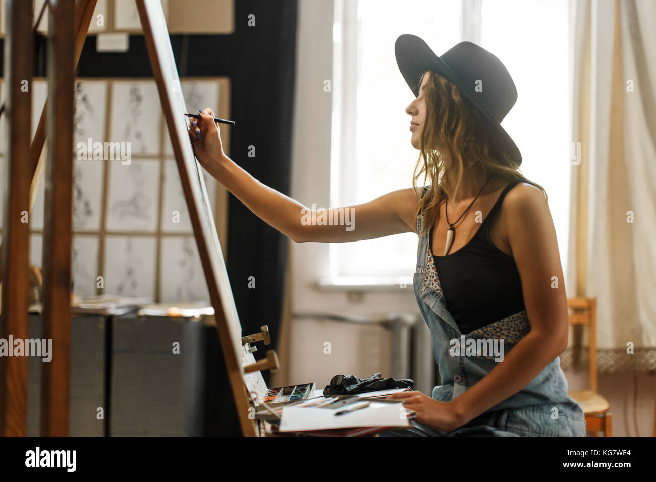 Artist's Drawing Process in the Studio - Stock Image