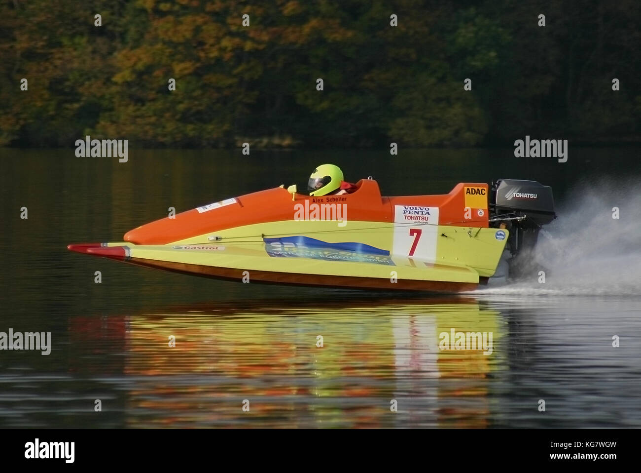powerboat on Lake Windermere - Stock Image