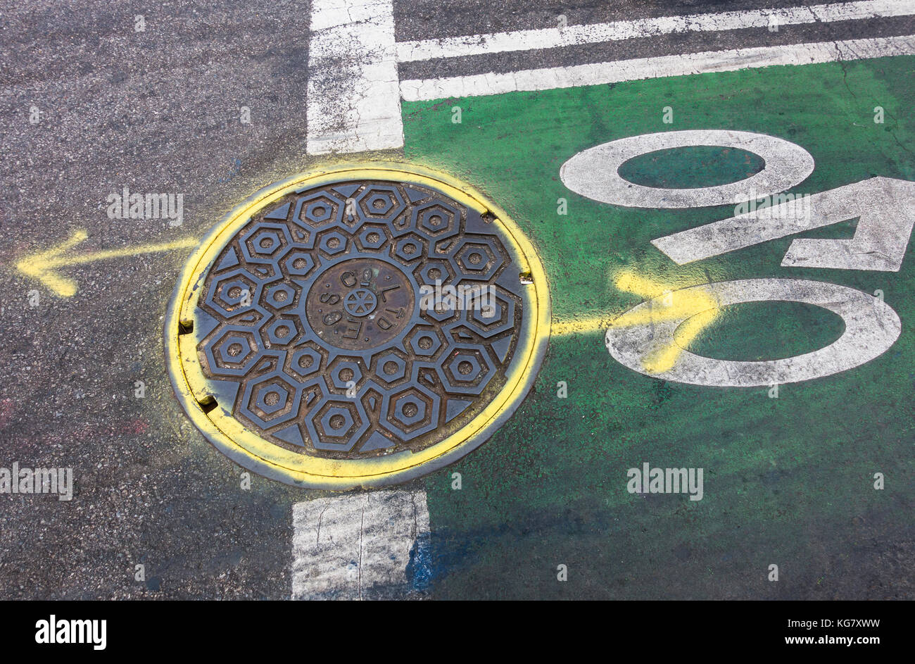 Sewer cover on New York City bike lane - Stock Image