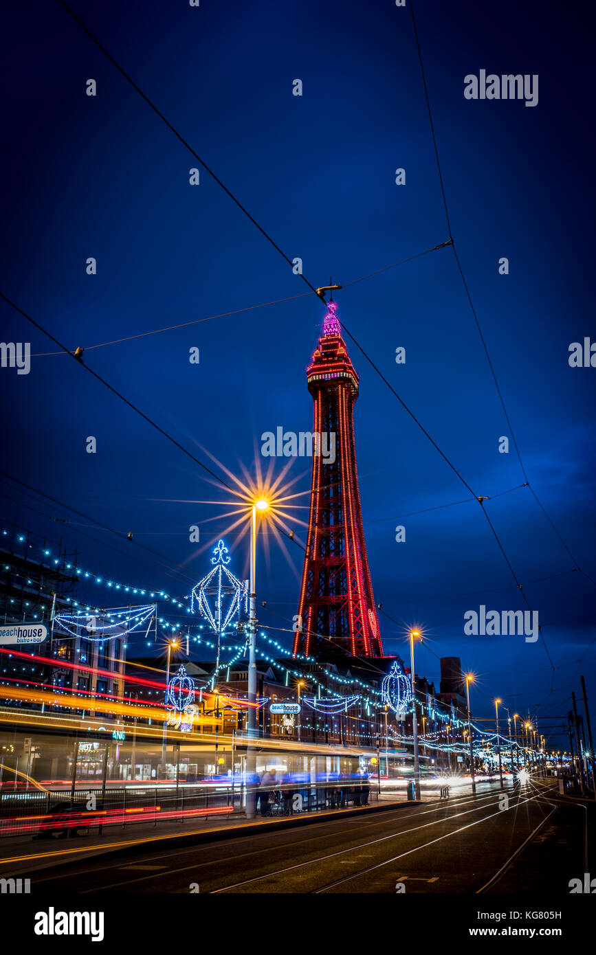 Blackpool Tower and promenade during the Blackpool Illuminations - Stock Image