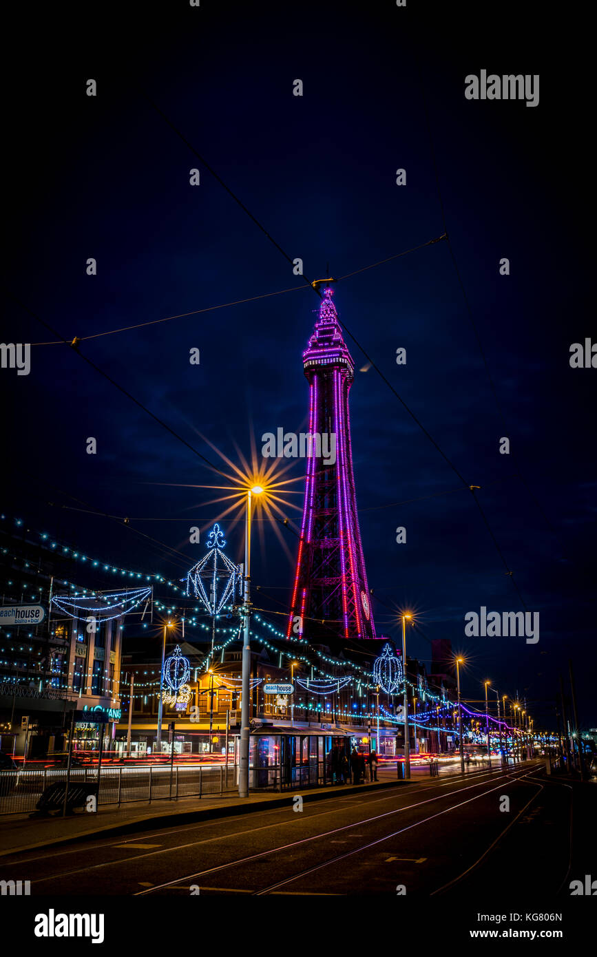Blackpool Tower and promenade during the Blackpool Illuminations Stock Photo