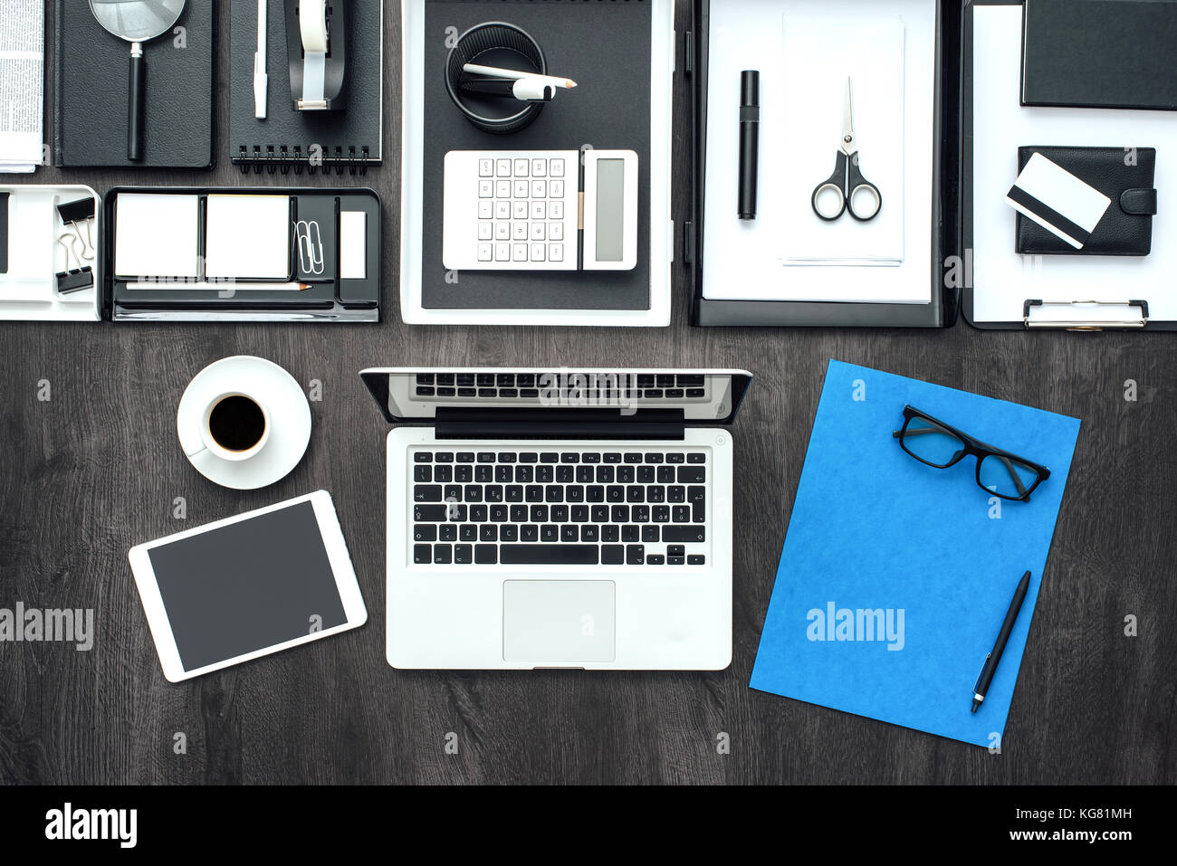 corporate business office desktop with laptop tablet and office