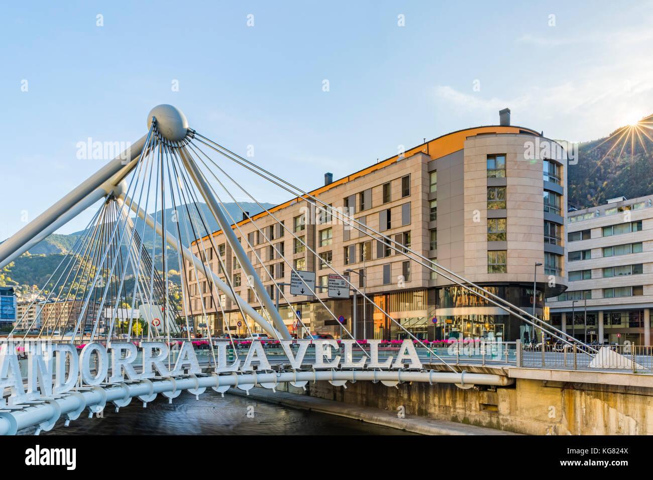 ANDORRA LA VELLA, ANDORRA - OCTOBER 28, 2017: City logo of Andorra la Vella, the capital of the Principality of - Stock Image