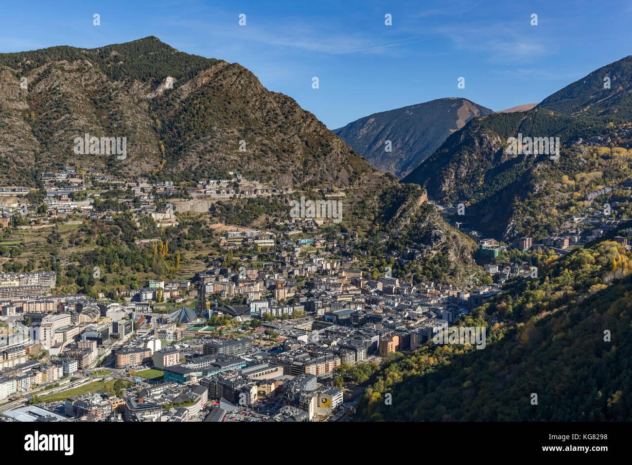 ANDORRA LA VELLA, ANDORRA - OCTOBER 28, 2017: Aerial view of Andorra la Vella, the capital of the Principality of - Stock Image