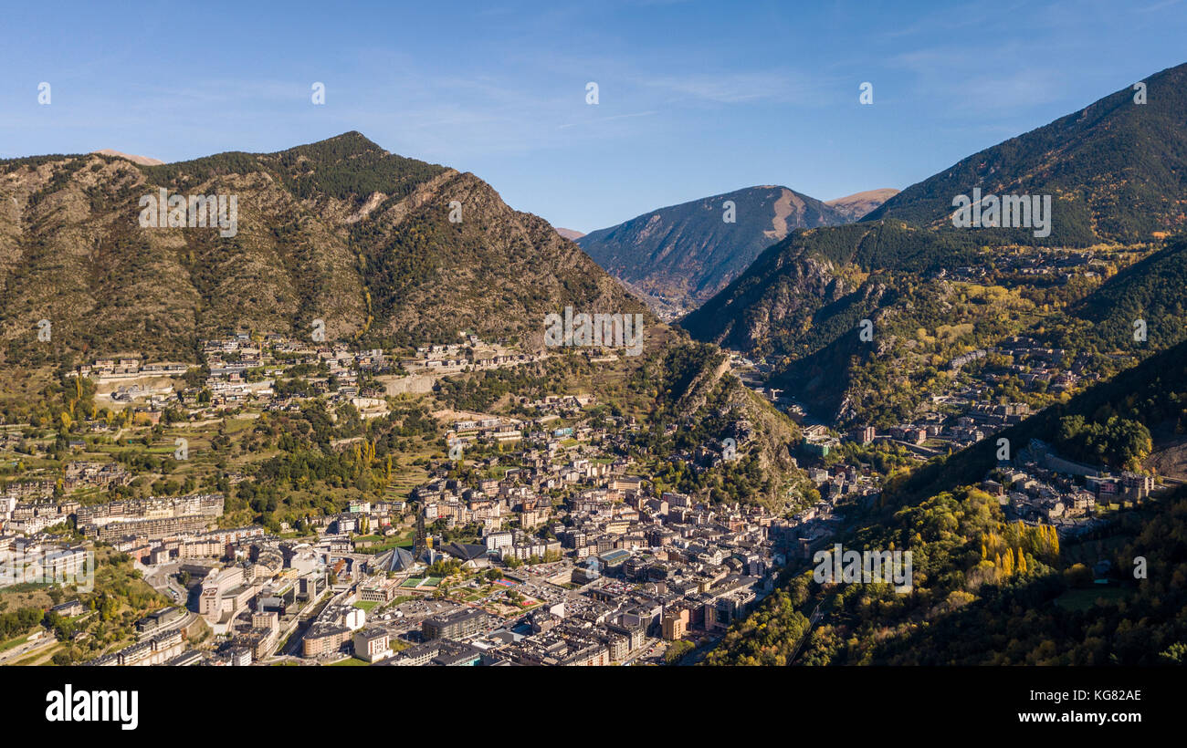 Aerial view of Andorra la Vella, the capital of the Principality of Andorra - Stock Image
