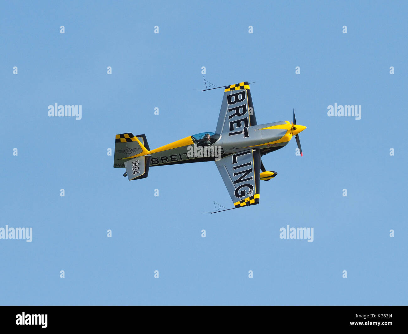 Jesolo, Italy, 27th August 2017: Aude Lemordant, female French pilot and aerobatic world champion during air show - Stock Image