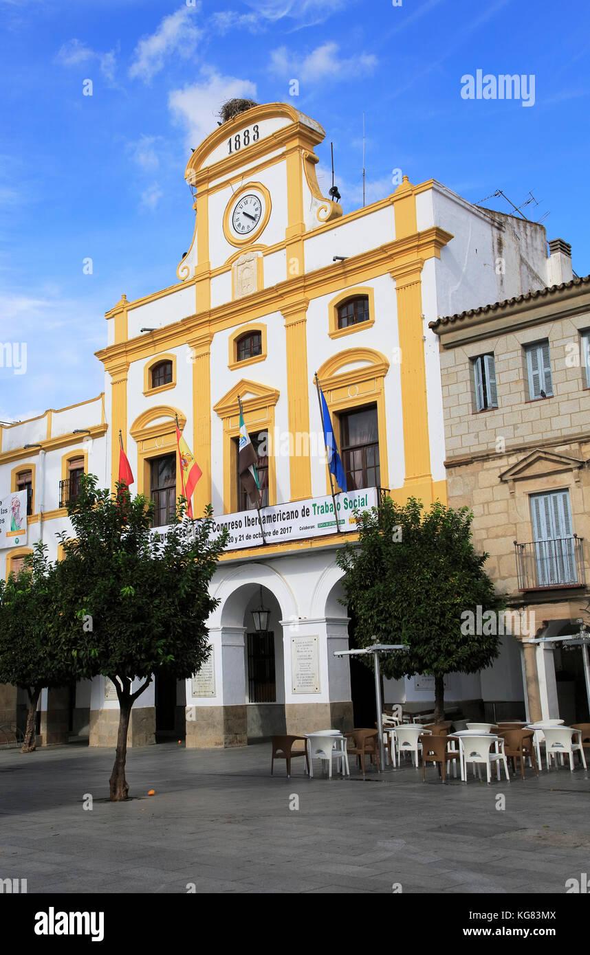 Nineteenth century Town hall Ayuntamiento building, Merida, Extremadura, Spain - Stock Image