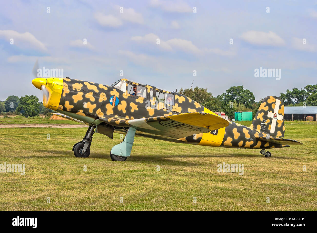 1947 Fiat G-46 trainer MM52801/G-BBII pictured taxying at Rougham in 2010. - Stock Image