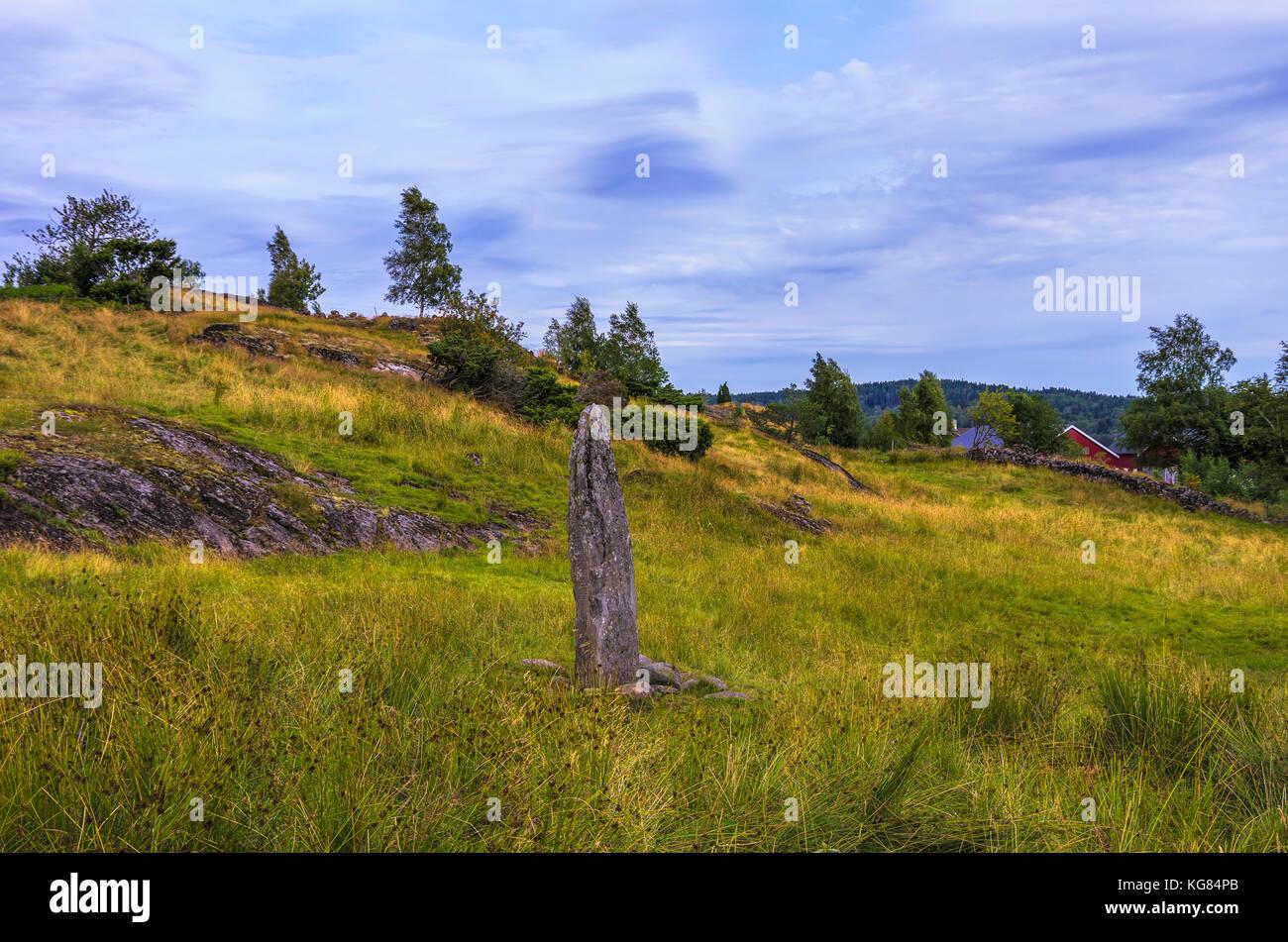 The Hoga rune stone (Hogastenen) on Orust, Bohuslän County, Sweden. - Stock Image