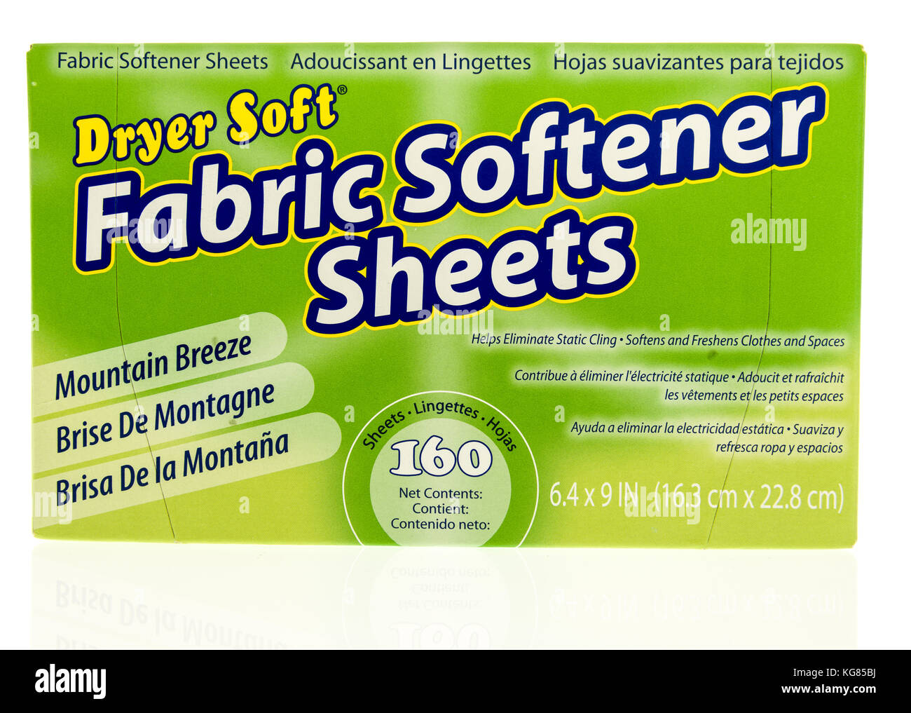 Winneconne, WI - 31 October 2017:  A container of Dryer Soft fabric softner sheets on an isolated background. Stock Photo