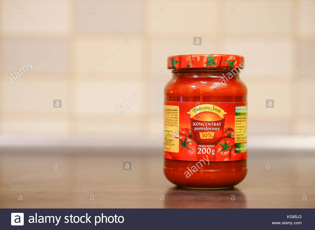 POZNAN, POLAND - OCTOBER 13, 2016: Polish Tradycyjny Smak tomato porree in a glass jar - Stock Image