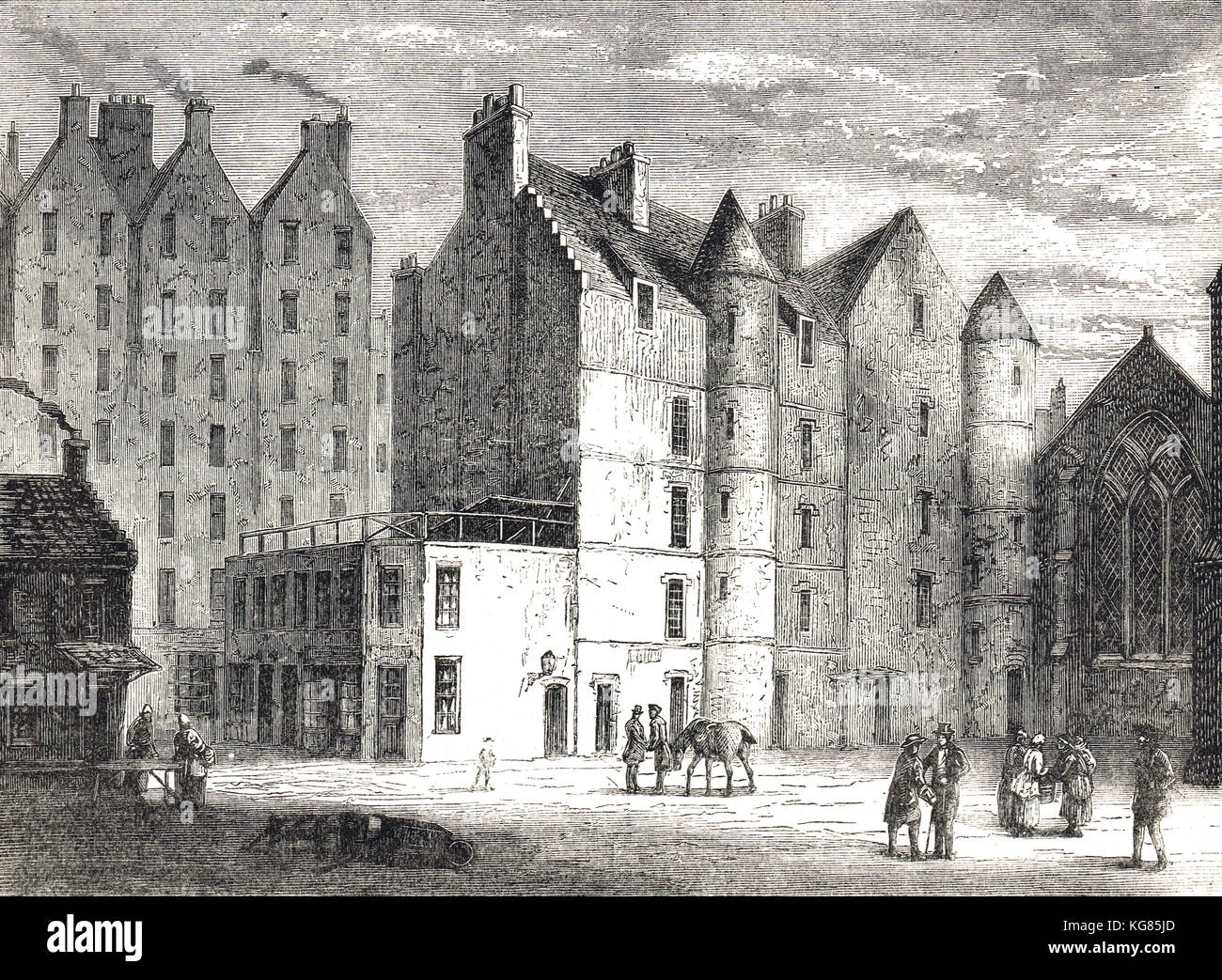 19th century engraving, Old Tolbooth, Edinburgh, Scotland - Stock Image