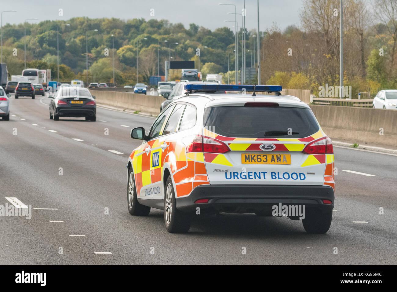 NHS Blood transportation service emergency vehicle - UK - Stock Image