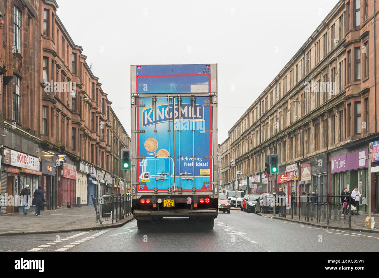 kingsmill bread delivery lorry driving through Possilpark, to the nearby Allied Bakeries Bakery, Glasgow, Scotland, - Stock Image