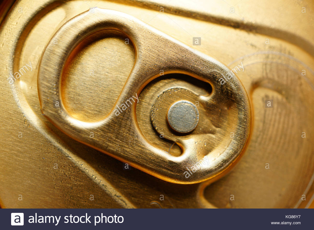 Detail of a beverage can with stay-tab - Stock Image