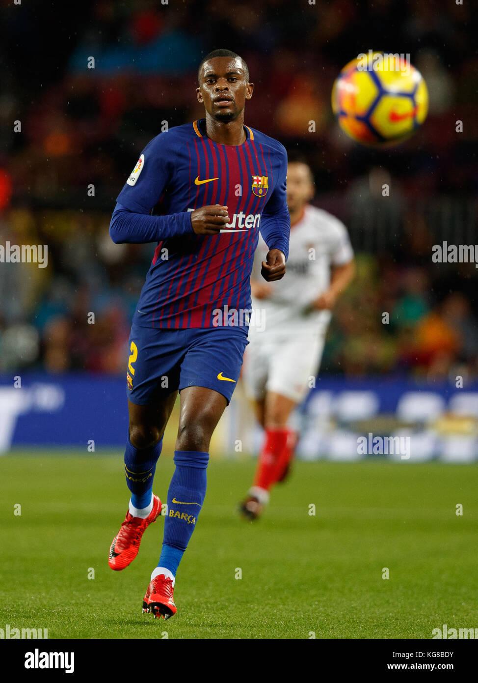 Barcelona, Spain. 4th November, 2017. Match between FC Barcelona and Sevilla FC in Camp Nou stadium. Semedo Credit: - Stock Image