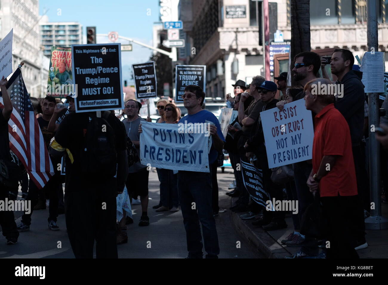 Anti- and pro-Trump protesters face off in downtown L.A. rally Credit: Eduardo Salazar/Alamy Live News Stock Photo