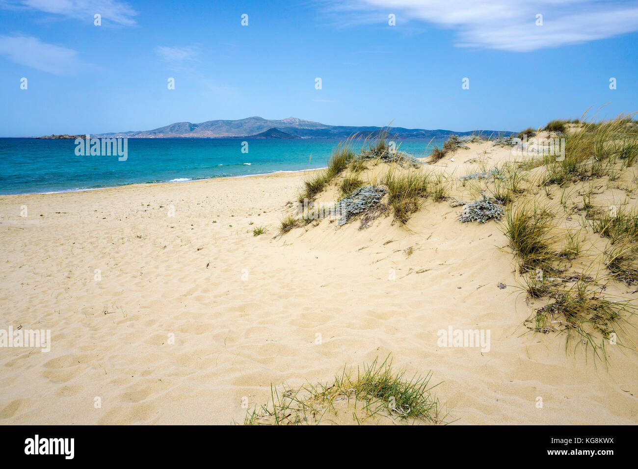 Dunes at Petrivo beach, west side of Naxos, Cyclades, Aegean, Greece - Stock Image