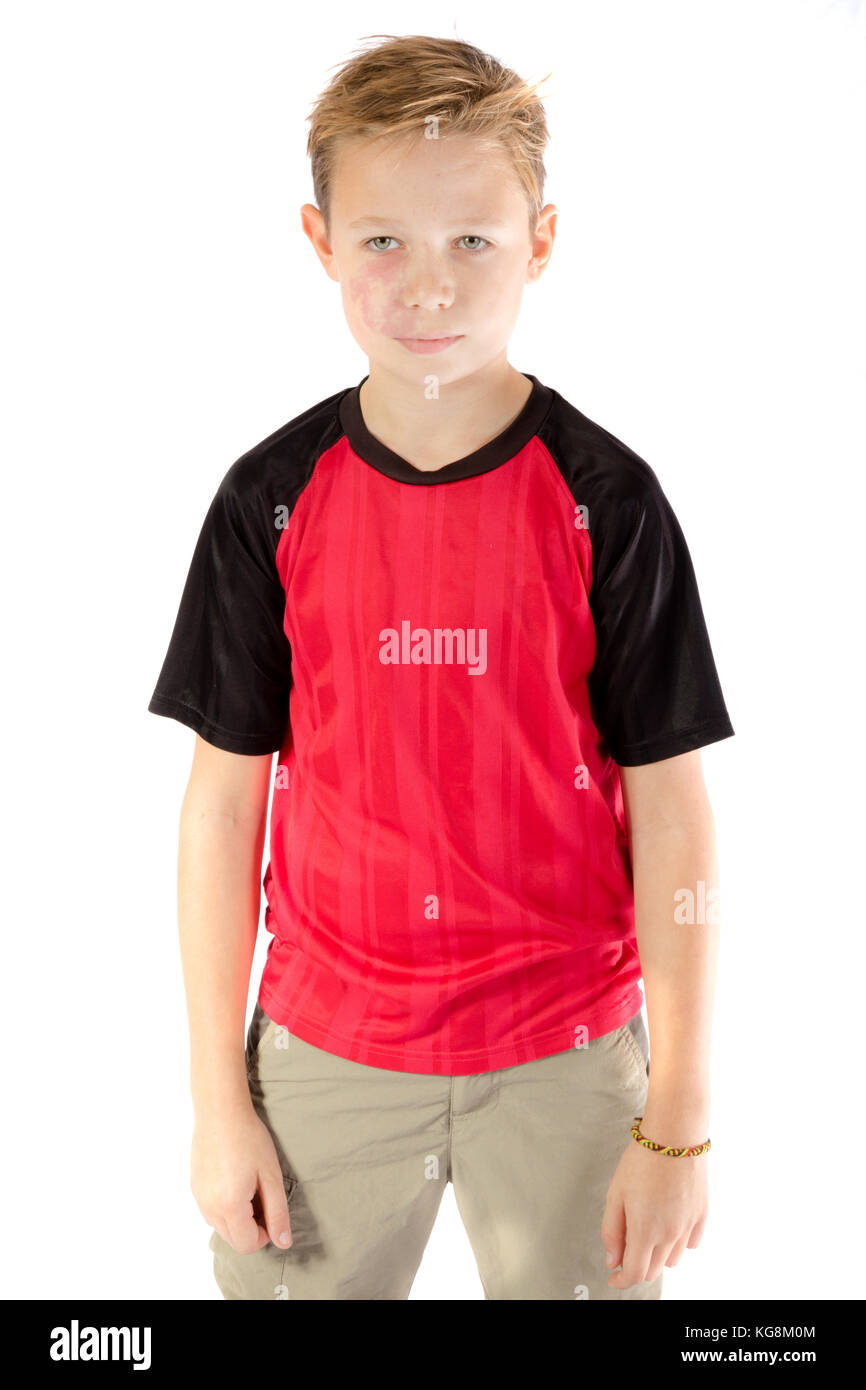 Portrait of a pre-teen boy isolated on white - Stock Image