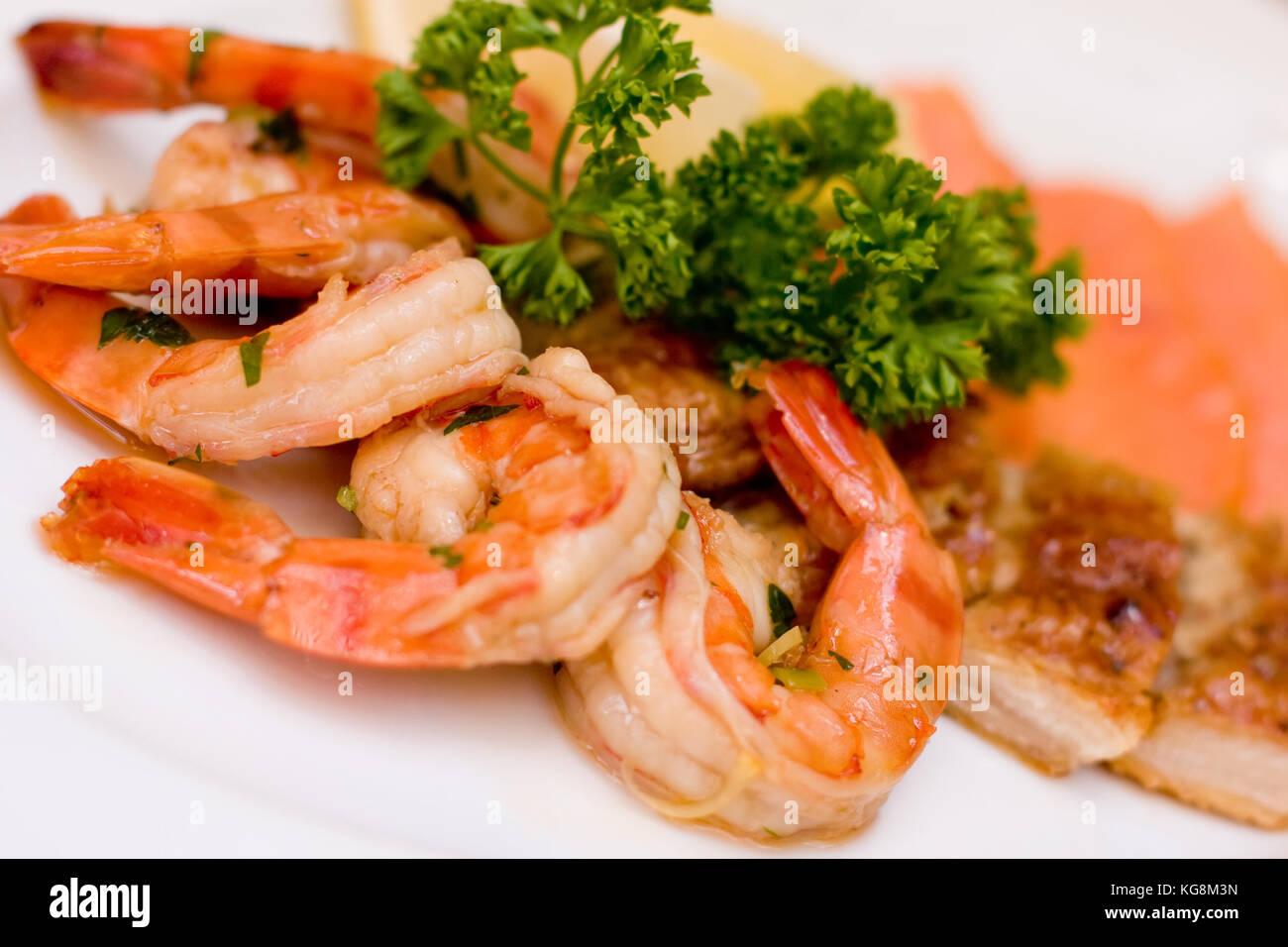 Marinated Shrimp Smoked Eel Chum Salmon On White Plate Background Stock Photo Alamy