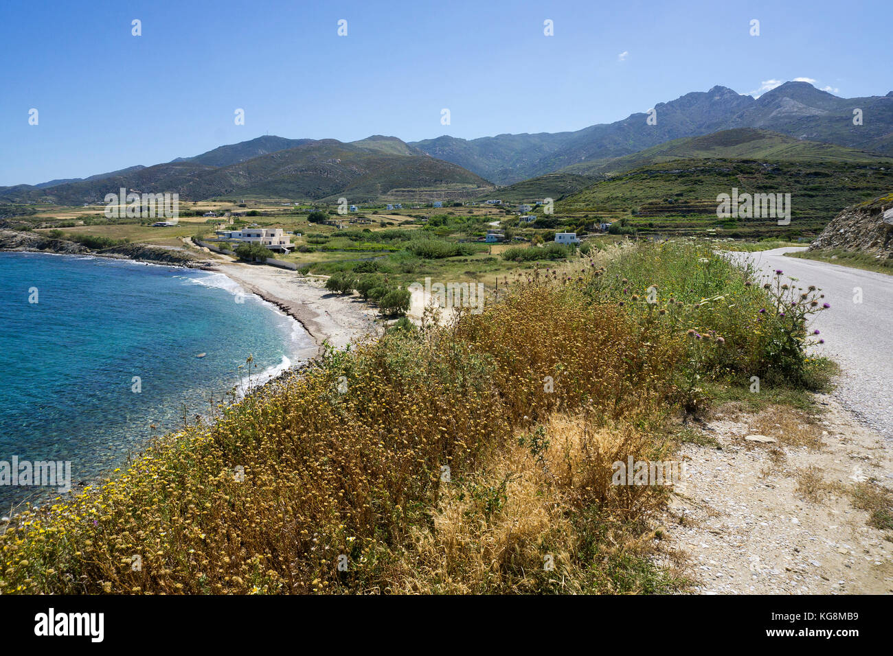 Amitis beach, north side of Naxos island, Cyclades, Aegean, Greece - Stock Image