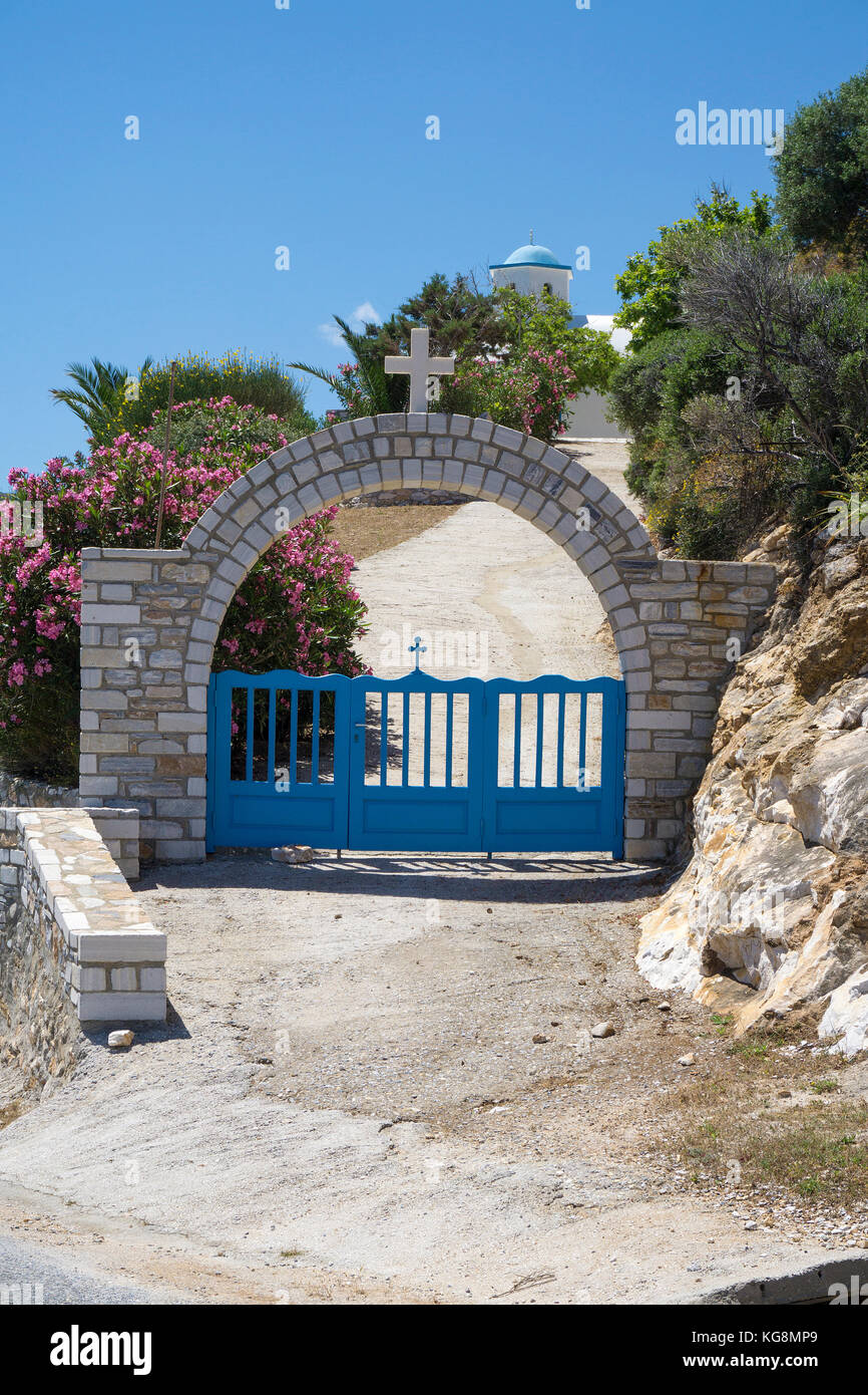 Entrance to a orthodox church at small fishing village Apollonas, North side of Naxos island, Cyclades, Aegean, - Stock Image