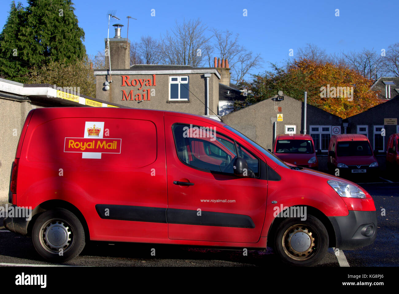 973ecda830 post office royal mail delivery vans and depot anniesland delivery office  glasgow logo red cars parked