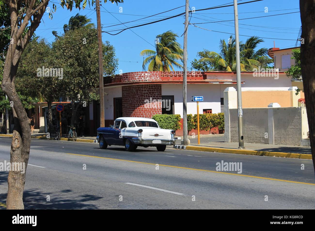 Antique American automobile on a street in Varadero, Cuba. - Stock Image