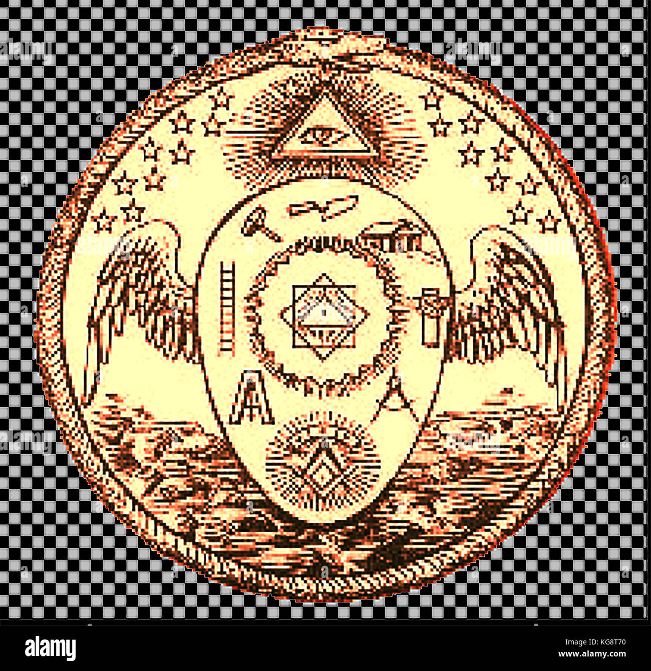 Magic - Mysticism - Golden seal of the Order of  Memphis-Misraism showing masonic symbols, the all seeing eye and Stock Photo