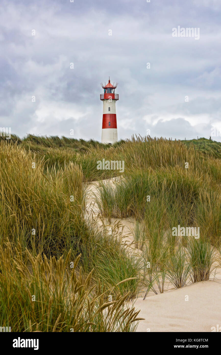 Lighthouse List - Sylt, Germany - Digital Painting - Stock Image