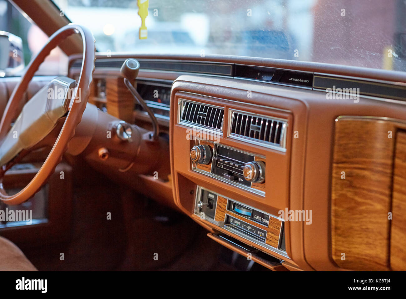 interior of a classic vintage car with a brown dashboard and steering stock photo 164922748 alamy. Black Bedroom Furniture Sets. Home Design Ideas