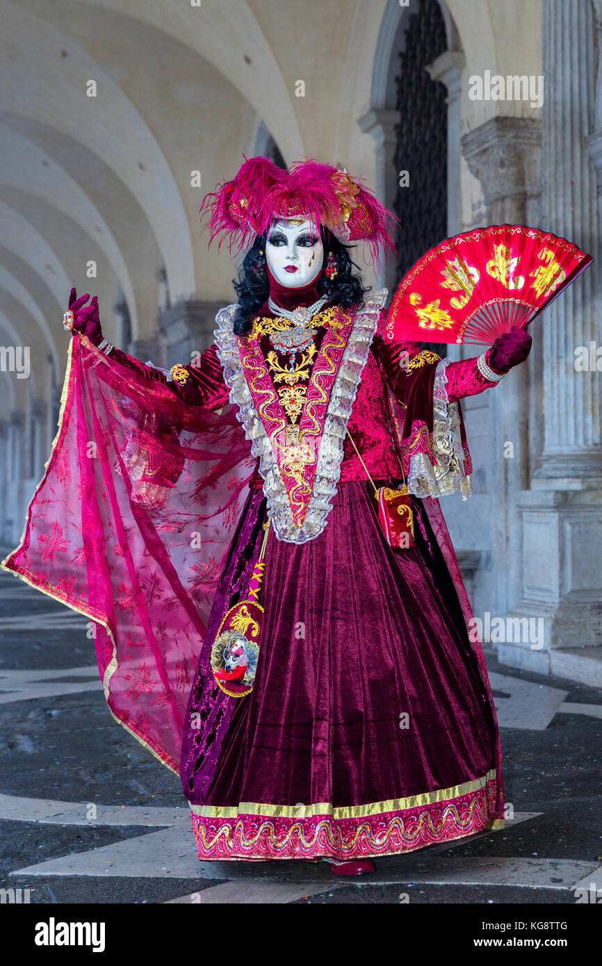A woman dressed up for the Carnival in Venice, Veneto, Italy - Stock Image